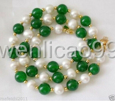 """7-8mm White freshwater Cultured  Pearl & geen jade Necklace 18"""""""