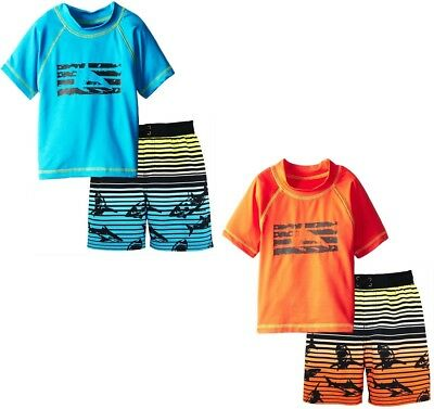 iXtreme Boys Shark Short Sleeve Rashguard Top Board Swim Trunk 2Pc Set