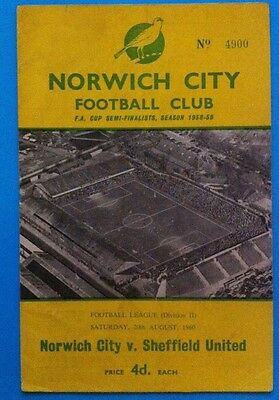 Norwich City v Sheffield United - 20th August 1960