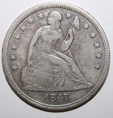 1847 Seated Silver Dollar CC51