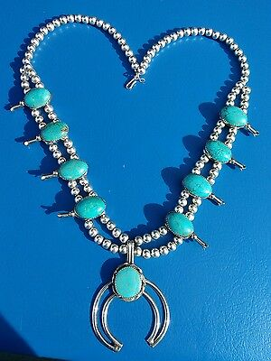 Navajo Silver and Turquoise Squash Blossom Necklace Native American Signed