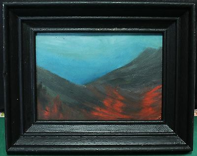Vintage Black Framed Abstract Painting On Board - Signed in Verso - Circa 1961