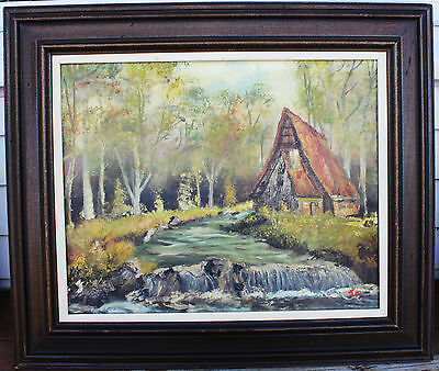 "Vintage Framed Oil Painting - House On River Landscape - Signed ""JO""- Circa 1976"