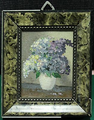 Vintage Miniature Framed Painting On Paper - Signed - Lilac Flowers in Vase