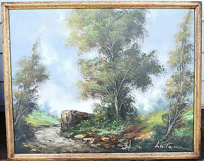 "Vintage/Antique Framed Oil Painting - Landscape - By Italian Artist ""Latona"""