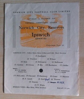 Norwich City Reserves v Ipswich Town - 1st December 1956