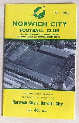 Norwich City v Cardiff City - 22nd August 1962