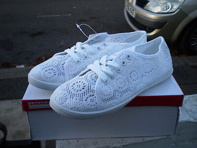 Womens Ladies Lace Sneakers Trainers Shoes Size 3/36