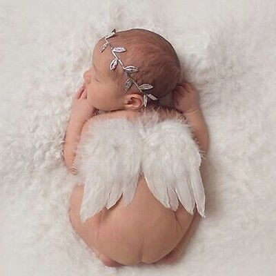 Angel Feather Wings Baby Girl HeadBand PhotoShoot Photography Prop Feathers CB6A