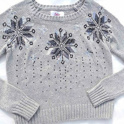 NWT Justice Gray Snowflake Sequin Sweater Girl's Size 12