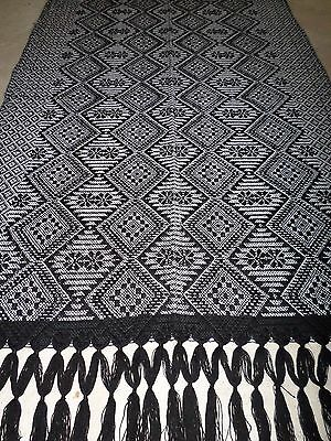 Mexican Woven Fringed Shawl Rebozo Table Runner Black White 30x94""