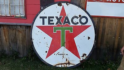 "Genuine 1940 Vintage 72"" Round Texaco Oil Gas Station Sign"