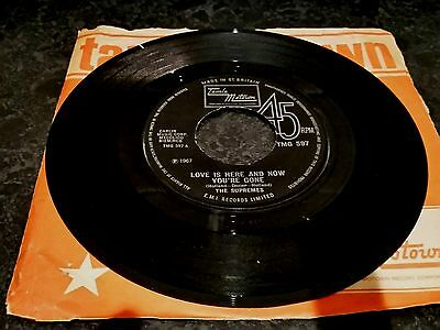"""The Supremes """" Love Is Here & Now You're Gone """" 7"""" Single (1967) Tamla Motown Tm"""