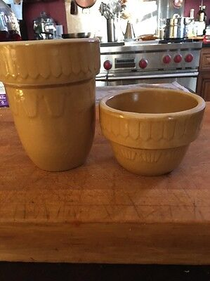 2 Vintage Pottery Americana Stars General Ring Cup Brown