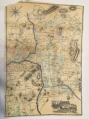 Lake Winnipesaukee Squam and Vicinity Boston & Maine RR COLOR Map Mountains