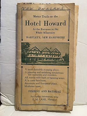Motor Trails Hotel Howard Bartlett New Hampshire Map White Mountains 1928 Map
