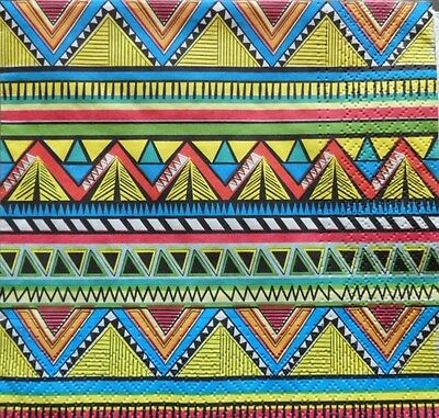 4 X SINGLE PAPER NAPKINS PARTY ethnic pattern DECOUPAGE  CRAFTING-32