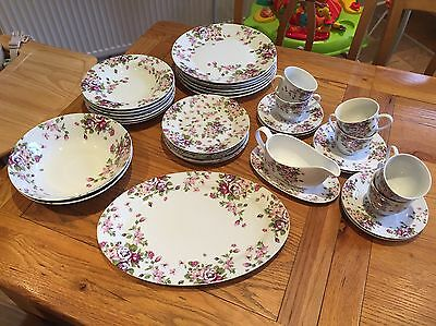 Waterside Fine China 35 Piece Summer Rose Dinner Set (Complete, nearly new)