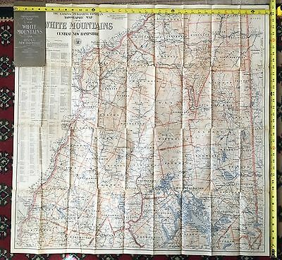 Topographic Map White Mountains & Central New Hampshire 1902 Colored HUGE