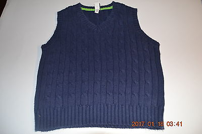 Toddler Boy 3T Pullover Knit Sweater Vest Solid Blue Cotton V-Neck Baby Gap