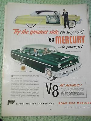 Color Macleans auto AD May fea '53 Mercury ...the greatest yet V-8 as always