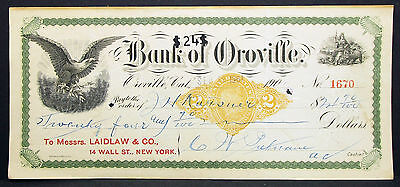 US Check Bank of Oroville Internal Revenue Documentary Paid 1901 Scheck (H-8188