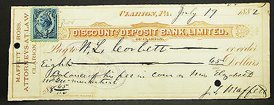 US Check Discount Deposit Bank Clarion Paid Inter. Rev. Stamp USA Scheck (H-8154