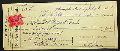 US Check Minneapolis Nicollet National Bank Documentary Stamp 2c Scheck (H-8096+