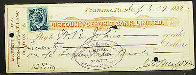 US Check Maffett Ross Attorneys at Law Clarion Bank Paid Stamp USA Scheck H-8151