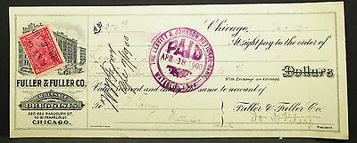US Check Fuller Co. Leavitt & Johnson National Bank Paid 1900 Scheck (H-8097+