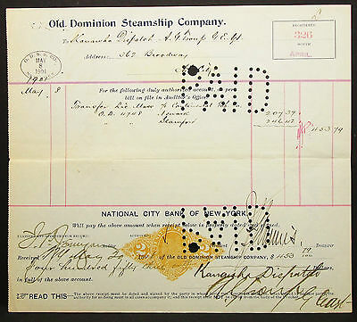 US Check Old Dominion Steamship NY Documentary Paid Stamp 1901 USA Scheck H-8179