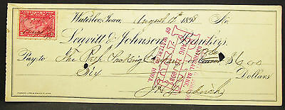 US Check Leavitt & Johnson Bankers Waterloo Paid Stamp 1898 USA Scheck (H-8102+
