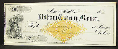 US Illustrated Check Mineral Point Henry Banker Documentary USA Scheck (H-8176