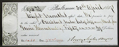 US Check Baltimore Maryland Stamp 50c $950 1853 USA Scheck (H-8085