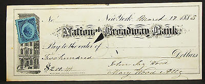US Check National Broadway Bank Inter. Revenue Stamp 2c 1883 USA Scheck (H-8161