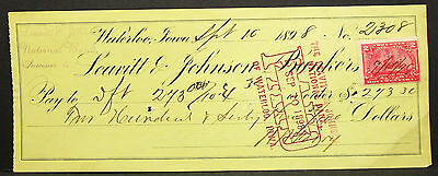 US Check First National Bank Leavitt & Johnson Paid Stamp 1898 USA Scheck H-8118