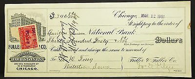 US Illustrated Check Fuller Co. Chicago Documentary Paid 1900 USA Scheck (H-8128