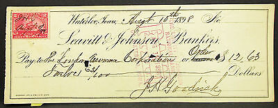US Check Leavitt & Johnson Bankers Waterloo Paid Stamp 1898 USA Scheck (H-8107+