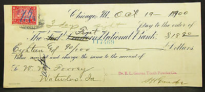 US Check First National Bank Chicago Graves Tooth Powder Co. USA Scheck (H-8120