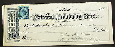 US Check National Broadway Bank NY Inter. Rev. Stamp 2c 1883 USA Scheck (H-8158