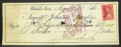 US Check Leavitt & Johnson National Bank Waterloo Paid Stamp USA Scheck (H-8108+