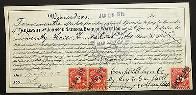 US Check Leavitt & Johnson Bank Waterloo Paid Documentary 40c USA Scheck (H-8167
