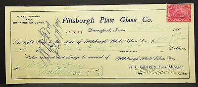 US Check Pittsburgh Plate Glass Co. National Bank Iowa 1900 USA Scheck (H-8113+