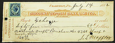 US Check Discount Deposit Bank Clarion Paid Inter. Rev. Stamp USA Scheck (H-8153