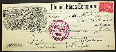 US Litho Cachet Check Illinois Glass Company Paid Stamp 1900 USA Scheck (H-8122