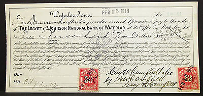 US Check The Leavitt & Johnson National Bank of Waterloo Paid USA Scheck (H-8163