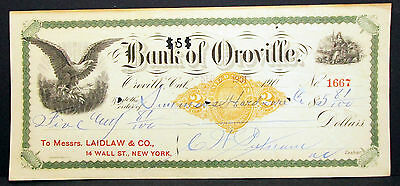 US Check Bank of Oroville Internal Revenue Documentary Stamp USA Scheck (H-8185
