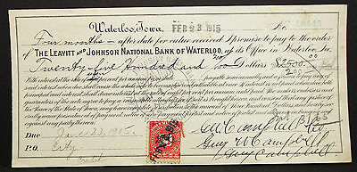 US Check Leavitt & Johnson Bank Waterloo Paid Documentary 50c USA Scheck (H-8166