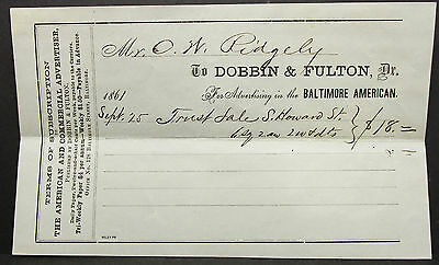 US Check Dobbin & Fulton Commercial Advertiser Baltimore American Scheck (H-8171