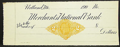 US Check Unlisted Merchants National Bank Portland Stamp 2c USA Scheck (H-8143